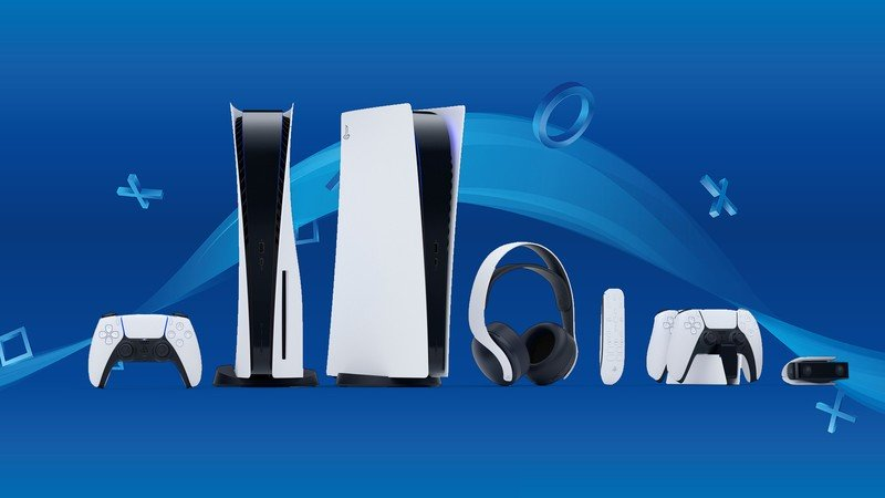 A lineup of the PlayStation 5 system and accessories.