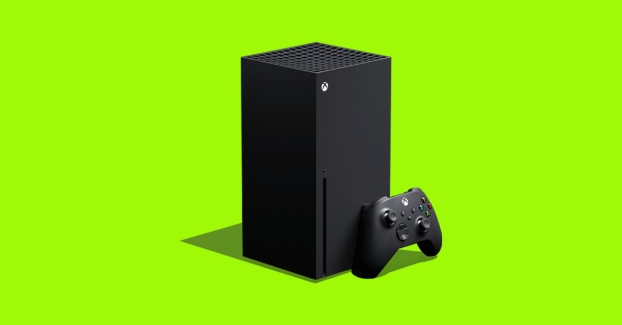 The Xbox Series X against a lime-green background.