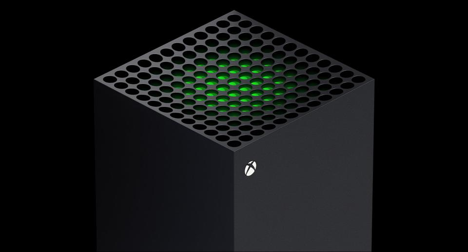 A top view of the Xbox Series X tower.