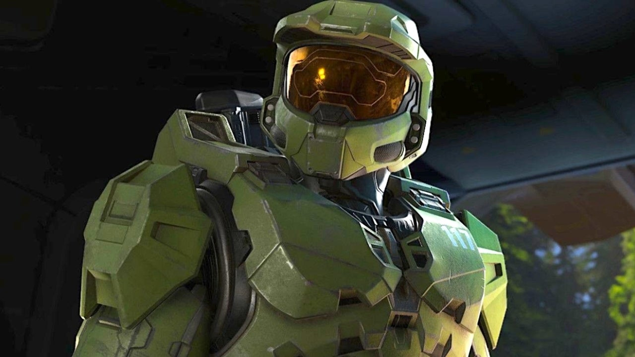 Halo Infinite' Master Chief looks on.