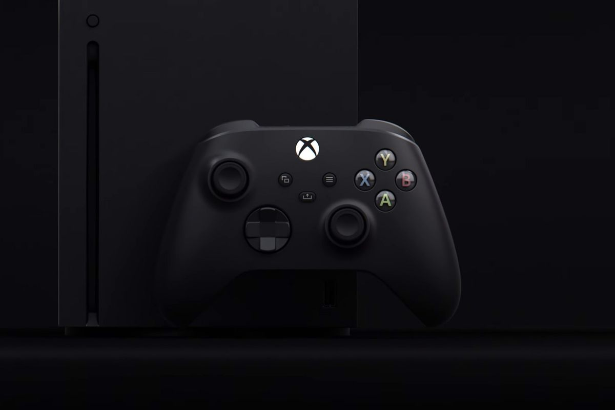 The Xbox Series X arranged with a controller.