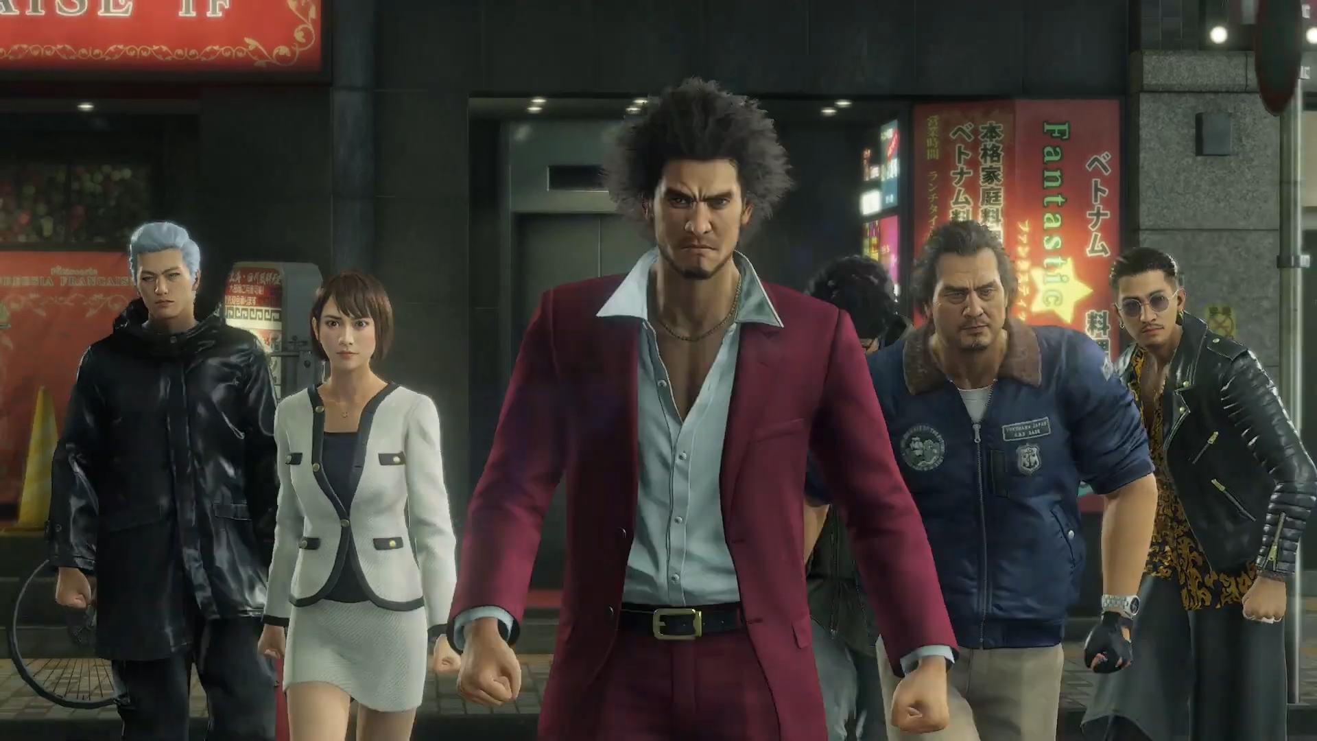 The cast of Yakuza: Like a Dragon marches toward the camera.