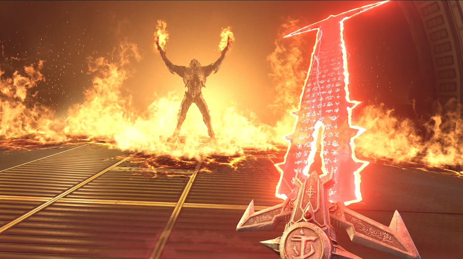Player holding a magic sword and fighting a firey monster in DOOM Eternal