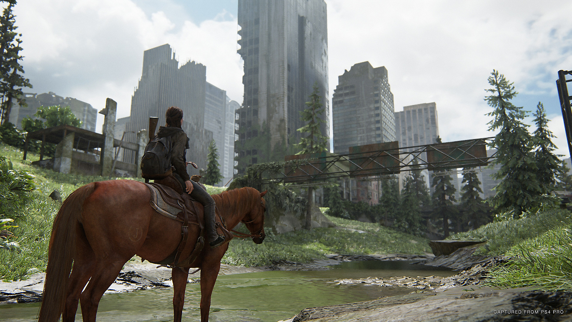 Ellie riding a horse in Last of Us II