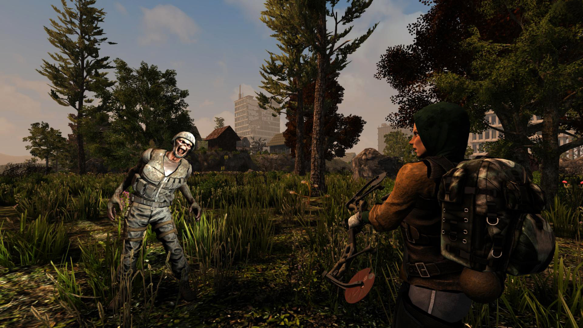 A player holding a bow while being approached by a miliary zombie in 7 Days to Die