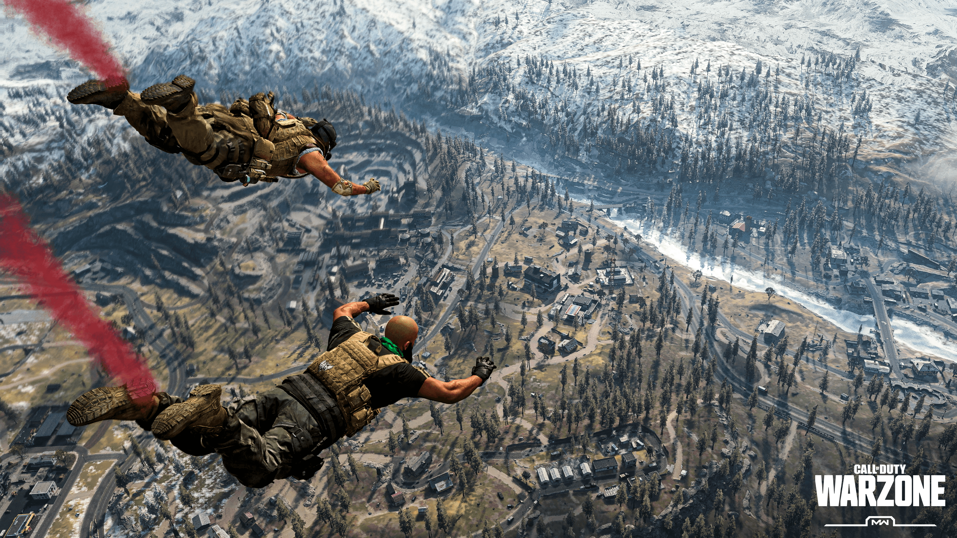 Two players skydiving in Call of Duty Warzone