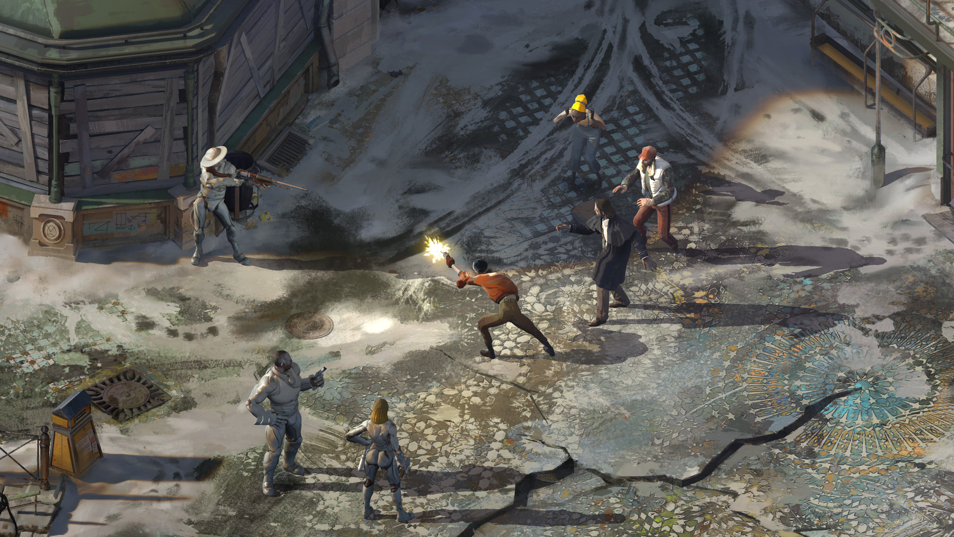 Characters from video game, Disco Elysium, in a shoot out
