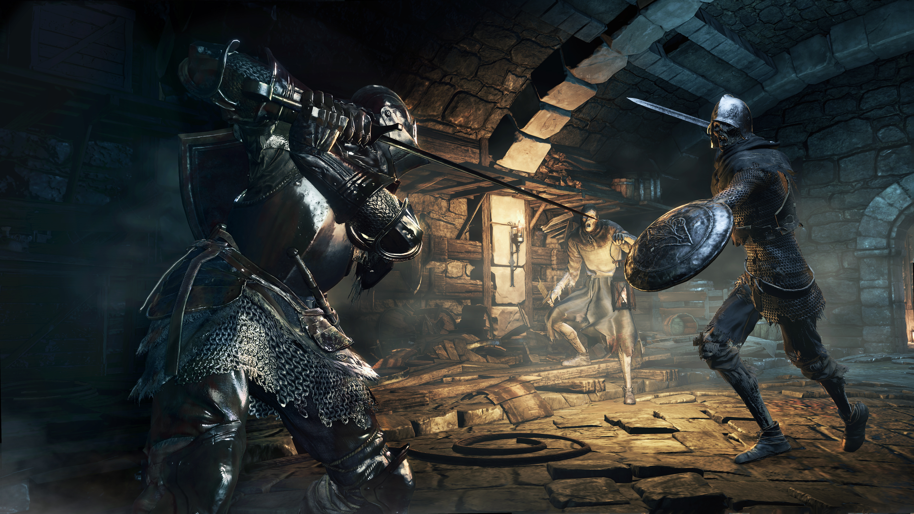Characters from video game, Dark Souls 3, 2 people in armor fighting