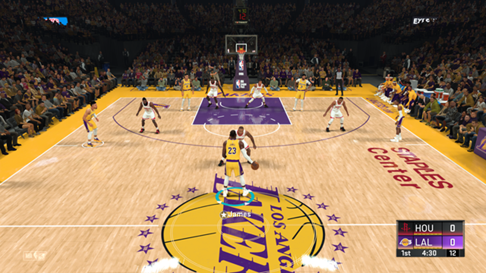 Gameplay of basketball from video game NBA2K20