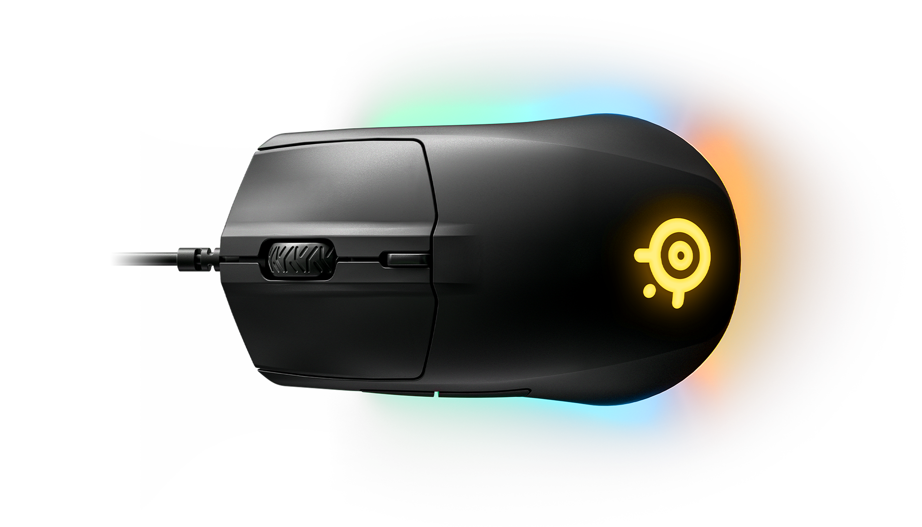 A top-down look at the Rival 3 gaming mouse, a great option for school work and gaming.