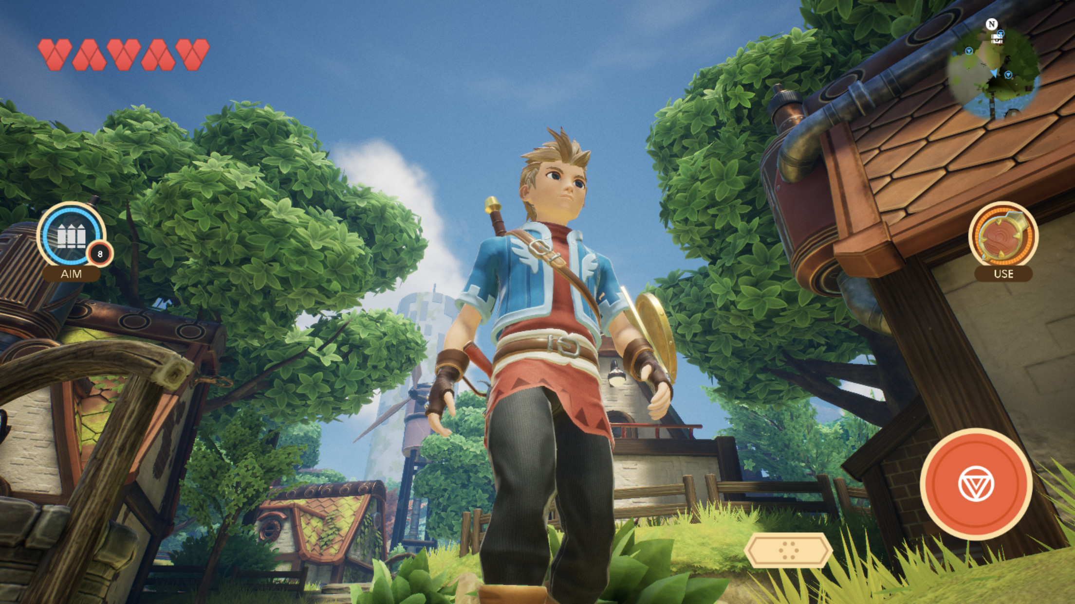 Oceanhorn 2's hero stands defiantly out in the field, waiting for an adventure.