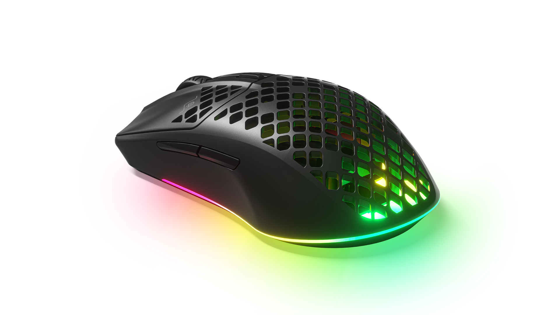 The Aerox 3 Wireless mouse, in all its hole-y glory, to keep you cool.