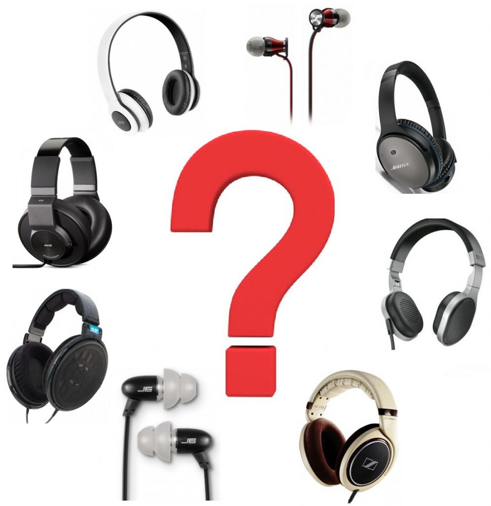 A large question mark in the center of a circle of various headsets, headphones, and earbuds