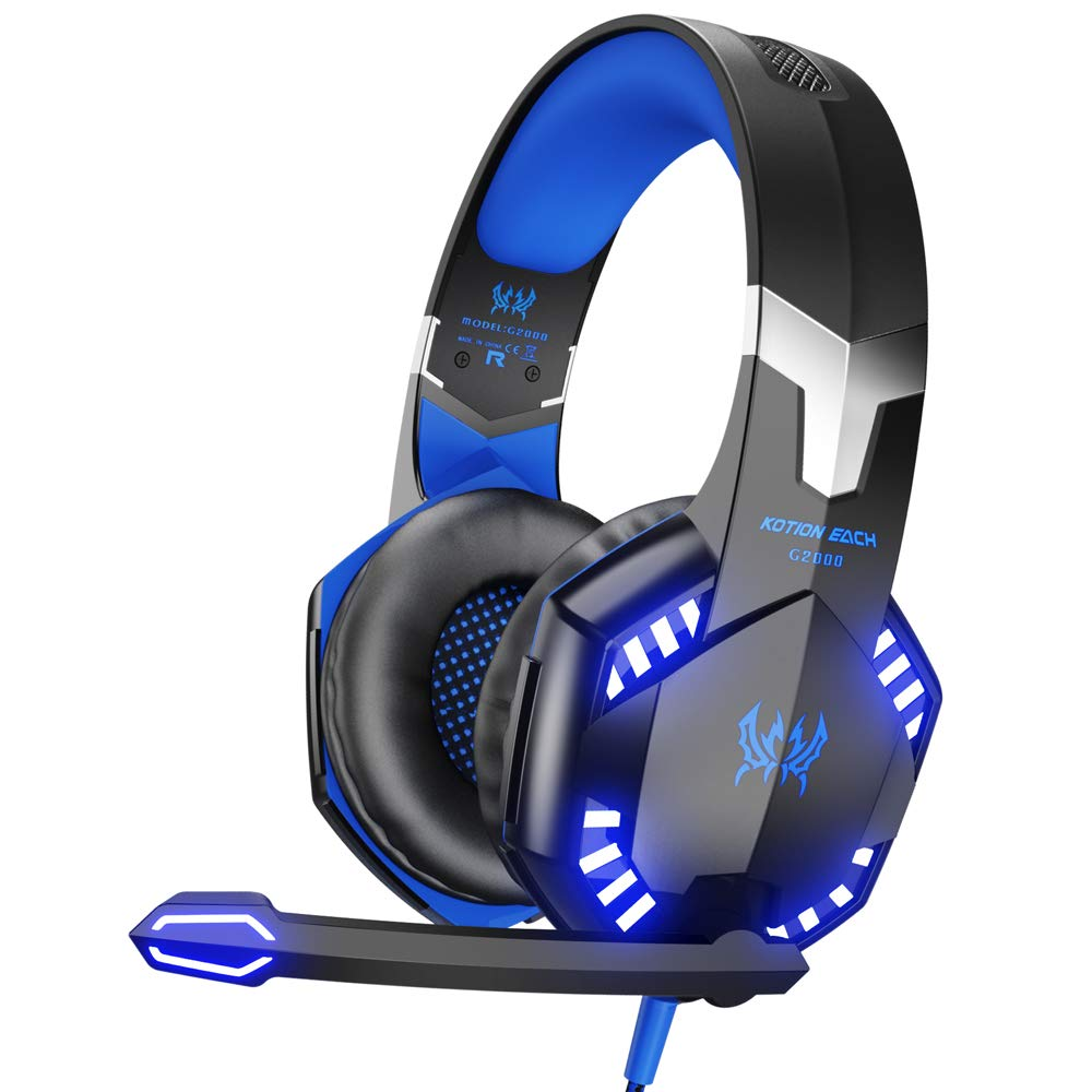 Blue and black Kotion Each brand G2000 headset with bright blue LEDs and large microphone