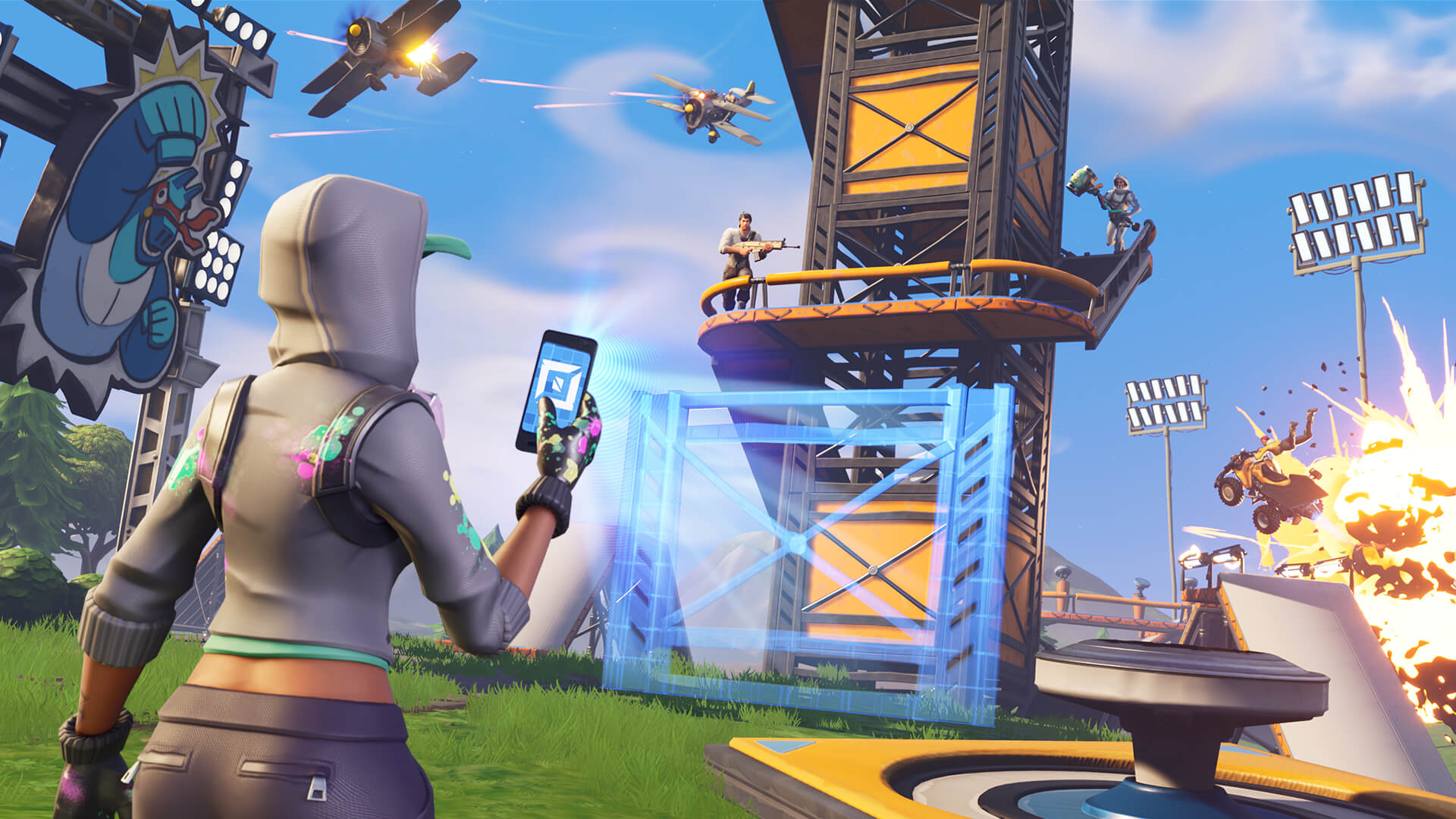 Players mess about in Fortnite's Creative Mode.