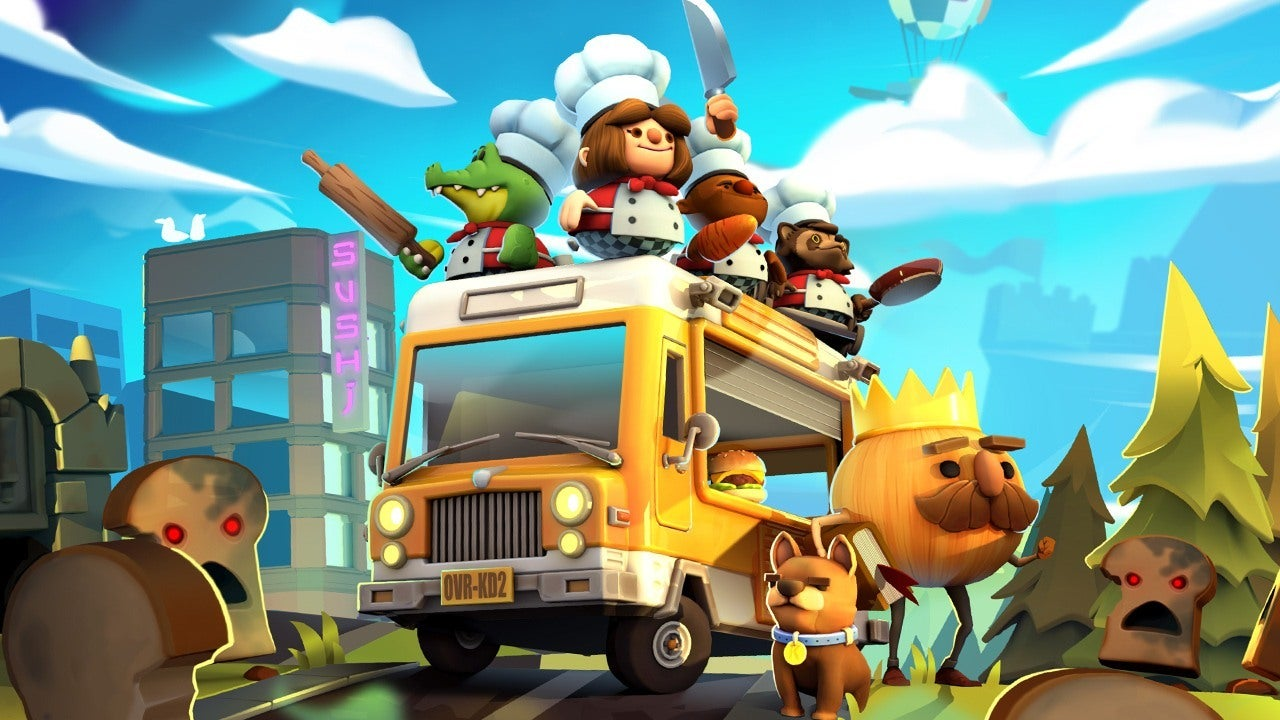 The adorable stars of Overcooked! stand atop their food truck.