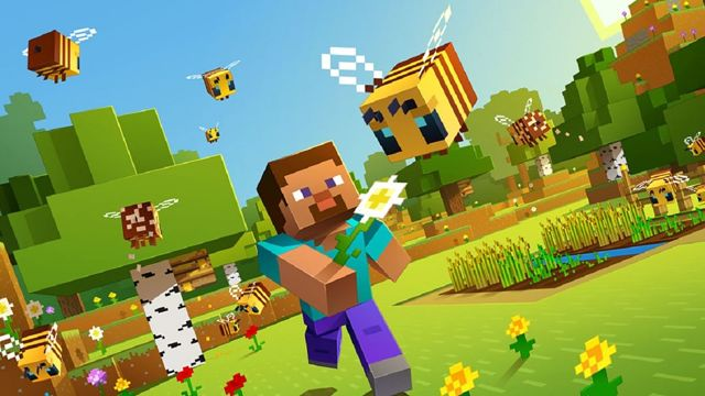 A blocky CG man smiles and runs across a field holding a flower out to a bee flying ahead of him. Trees, flowers, and a small field of wheat are surrounded by bees.