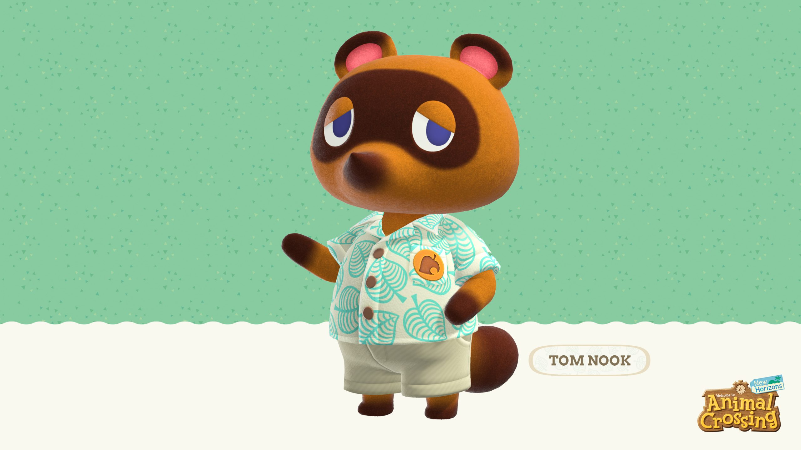 "A Tanooki video game character stands wearing a light green tropical shirt and khaki shorts. A title says ""Tom Nook."" A logo for Animal Crossing New Horizons is displayed in the bottom left corner."