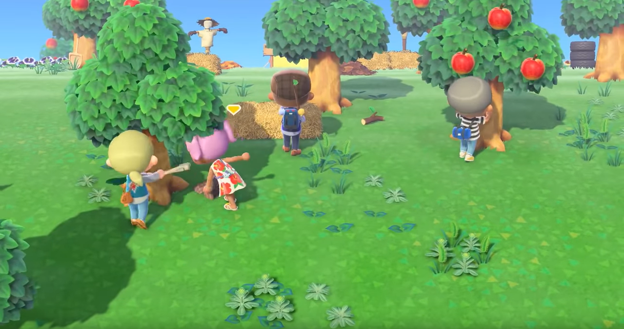 Four video game characters explore a green, wooded environment including an apple tree.
