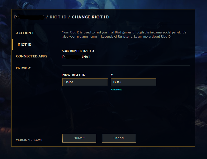 Riot Games Riot ID edit page