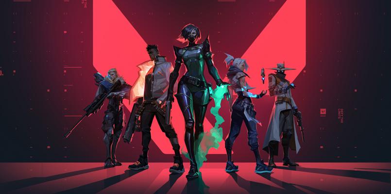Valorant characters Sova, Phoenix, Viper, Jett, and Cypher