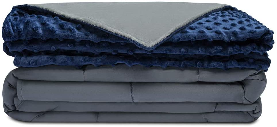 A folded grey and blue weighted blanket