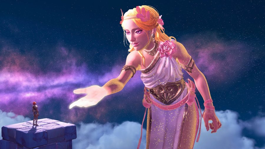 The powerful Aphrodite reaches out to Fenyx to offer them more power.