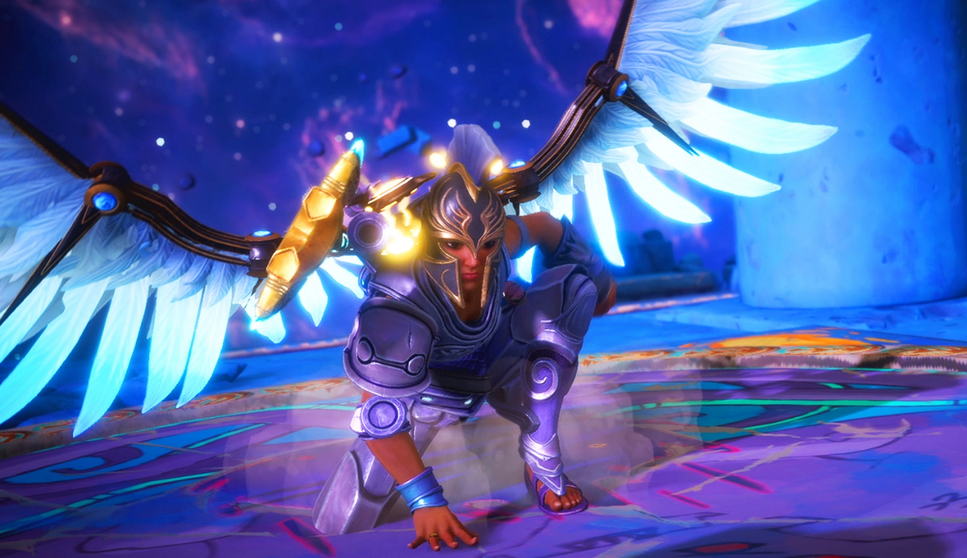 A look at Fenyx, transformed by Blessings granted by the gods.