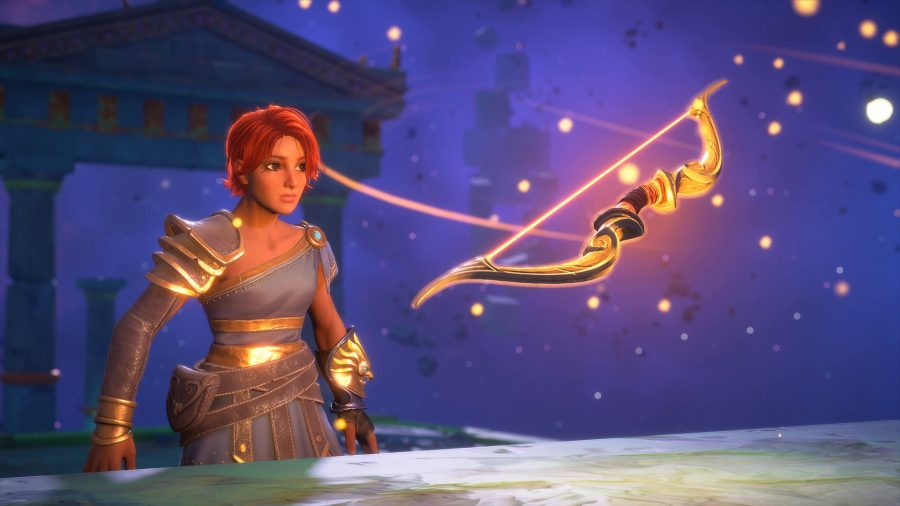 Fenyx and her bow in Immortals Fenyx Rising.
