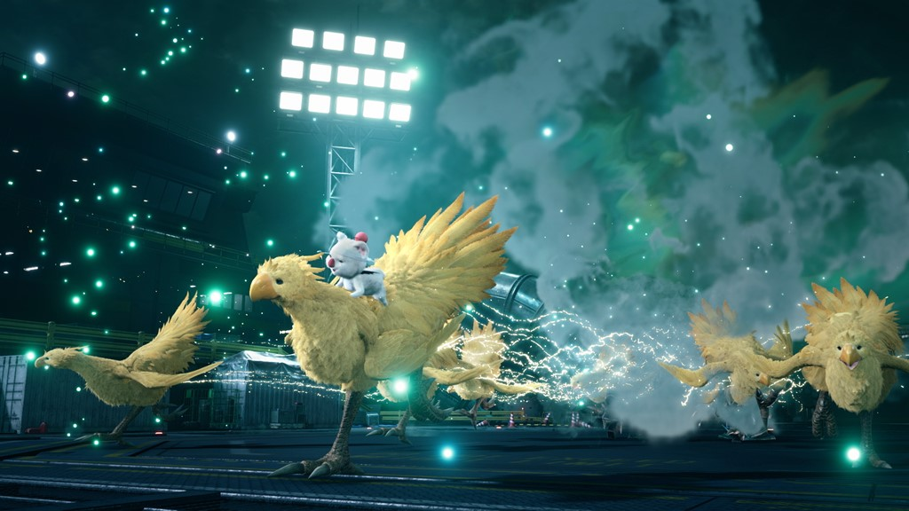 5 Chocobos and a moogle in FF7 Remake