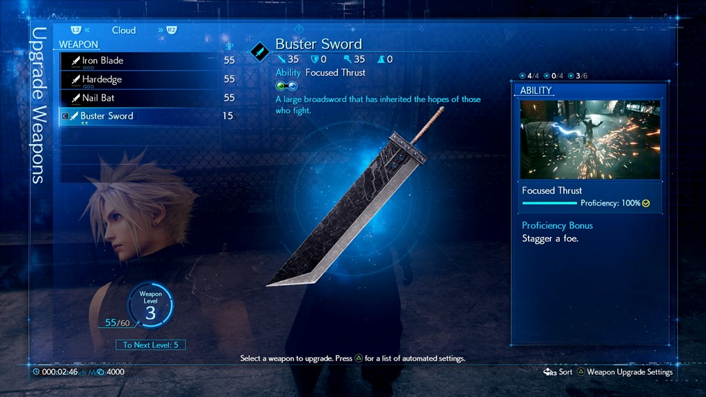 Cloud's buster sword eqipped with a magic materia