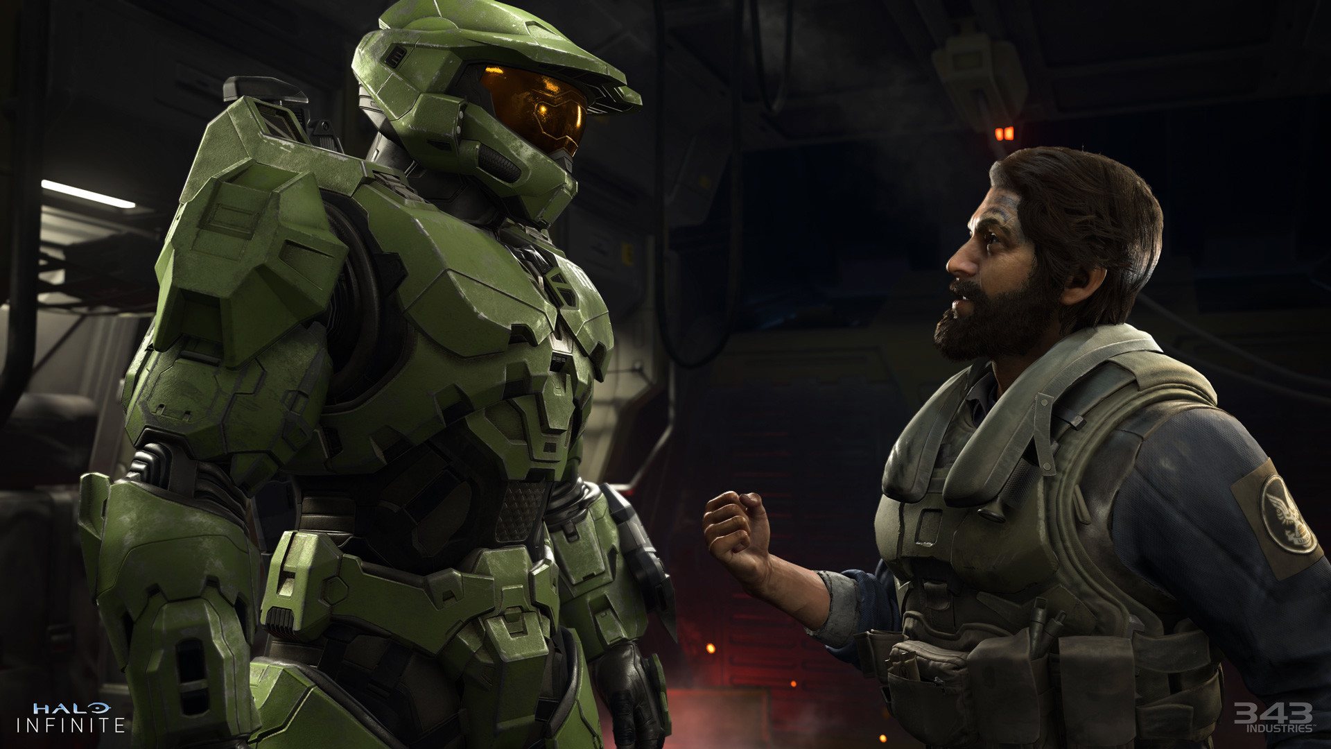 Master Chief and the Pilot character engage in heated conversation.