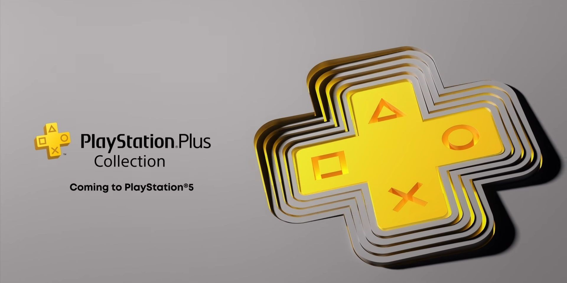 The yellow PS Plus logo shows off the new PS Plus Collection.