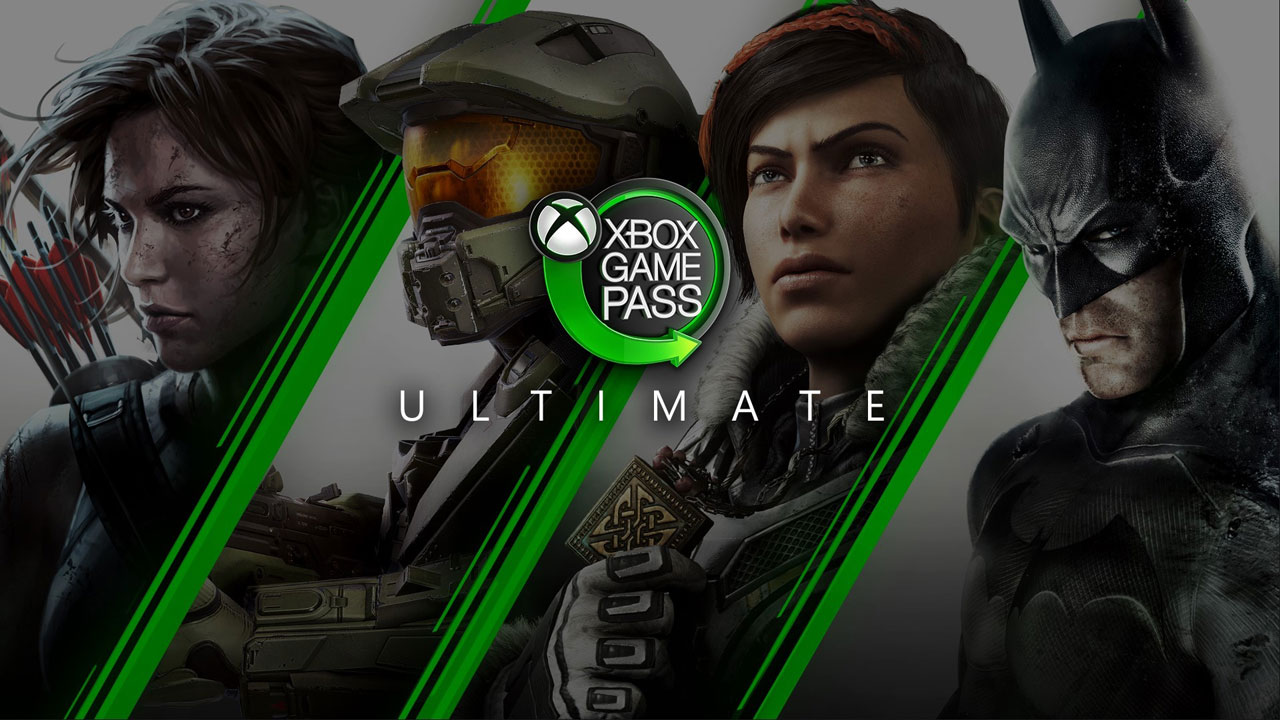 The Xbox Game Pass Ultimate logo, featuring four different games available on the service.