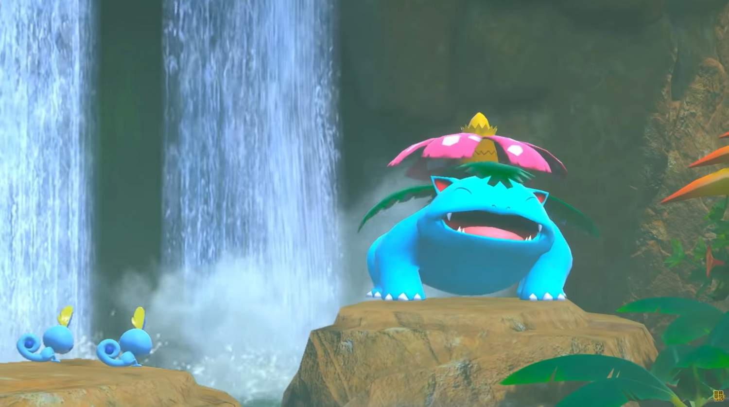 A Venusaur is just chilling outside.