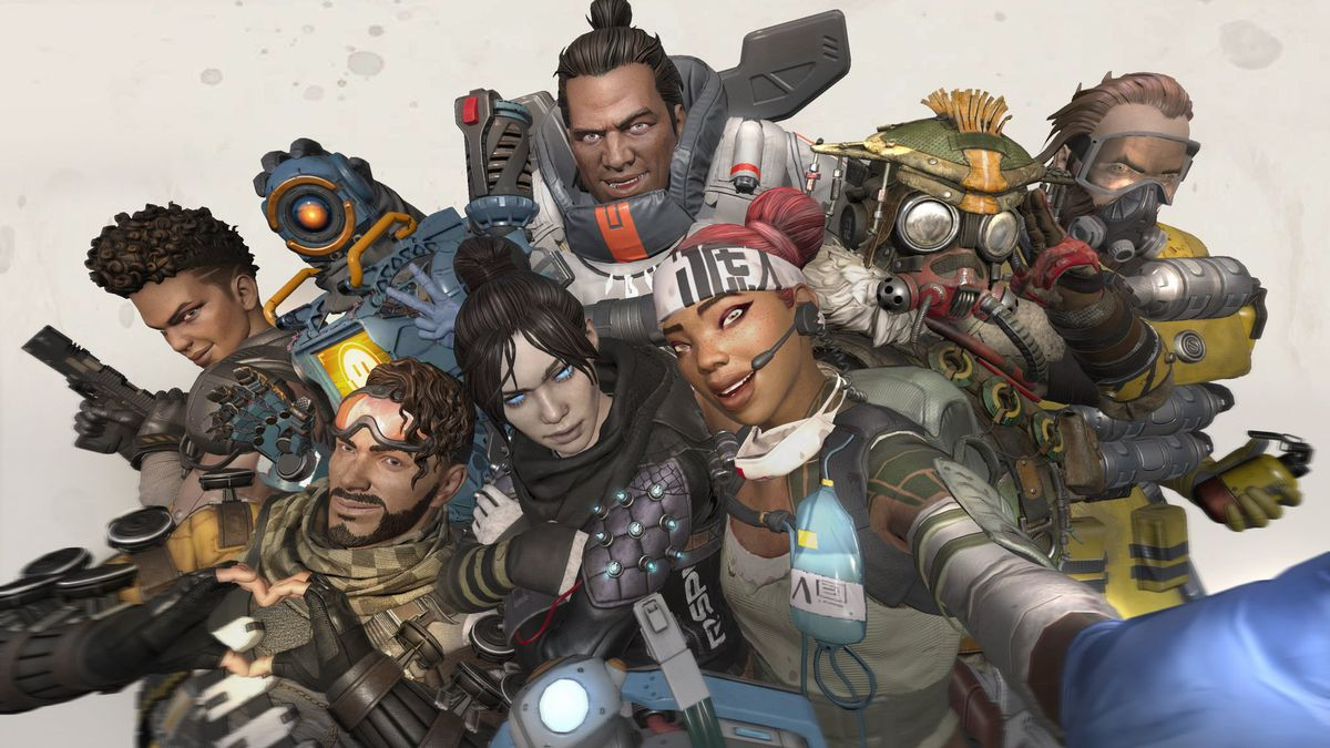 All the Apex Legends characters come together for a big grin and cheeky poses.