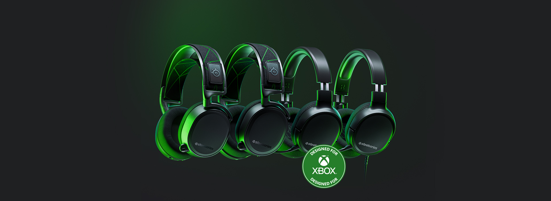 4 Arctis headset models that are compatible with Xbox floating in space