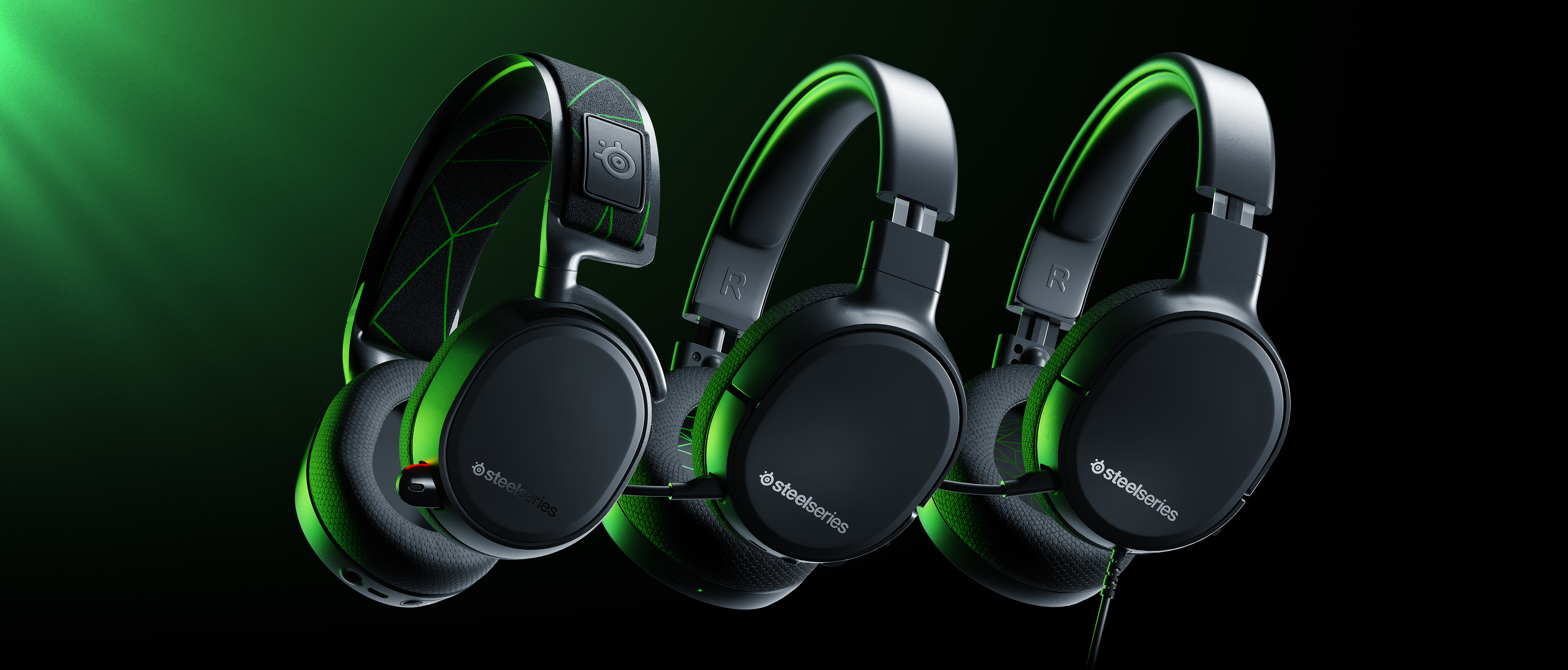 3 Arctis headset models that are compatible with Xbox floating in space