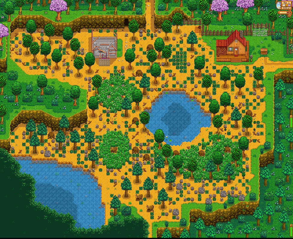 Wilderness farm land in Stardew Valley