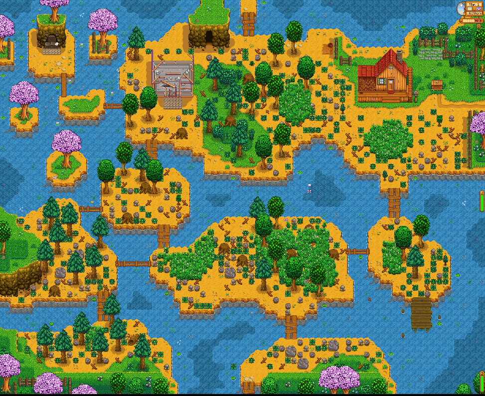 Riverland farm land in Stardew Valley