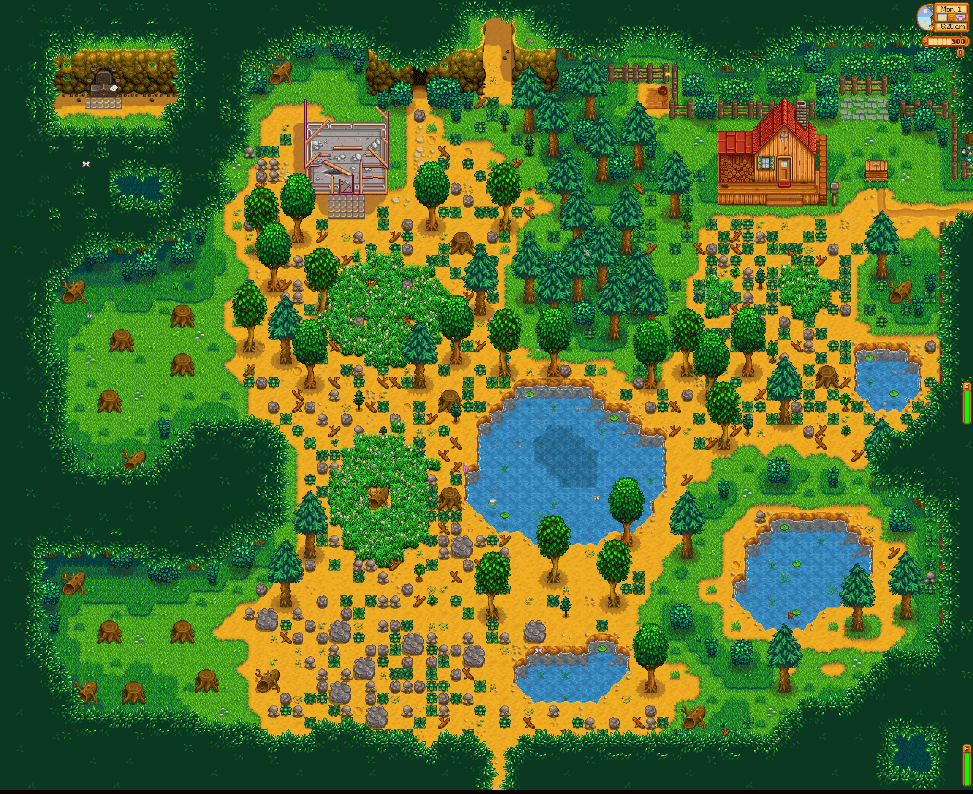 Forest farm land in Stardew Valley