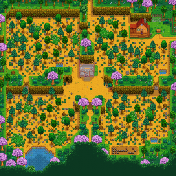 Four corners farm land in Stardew Valley