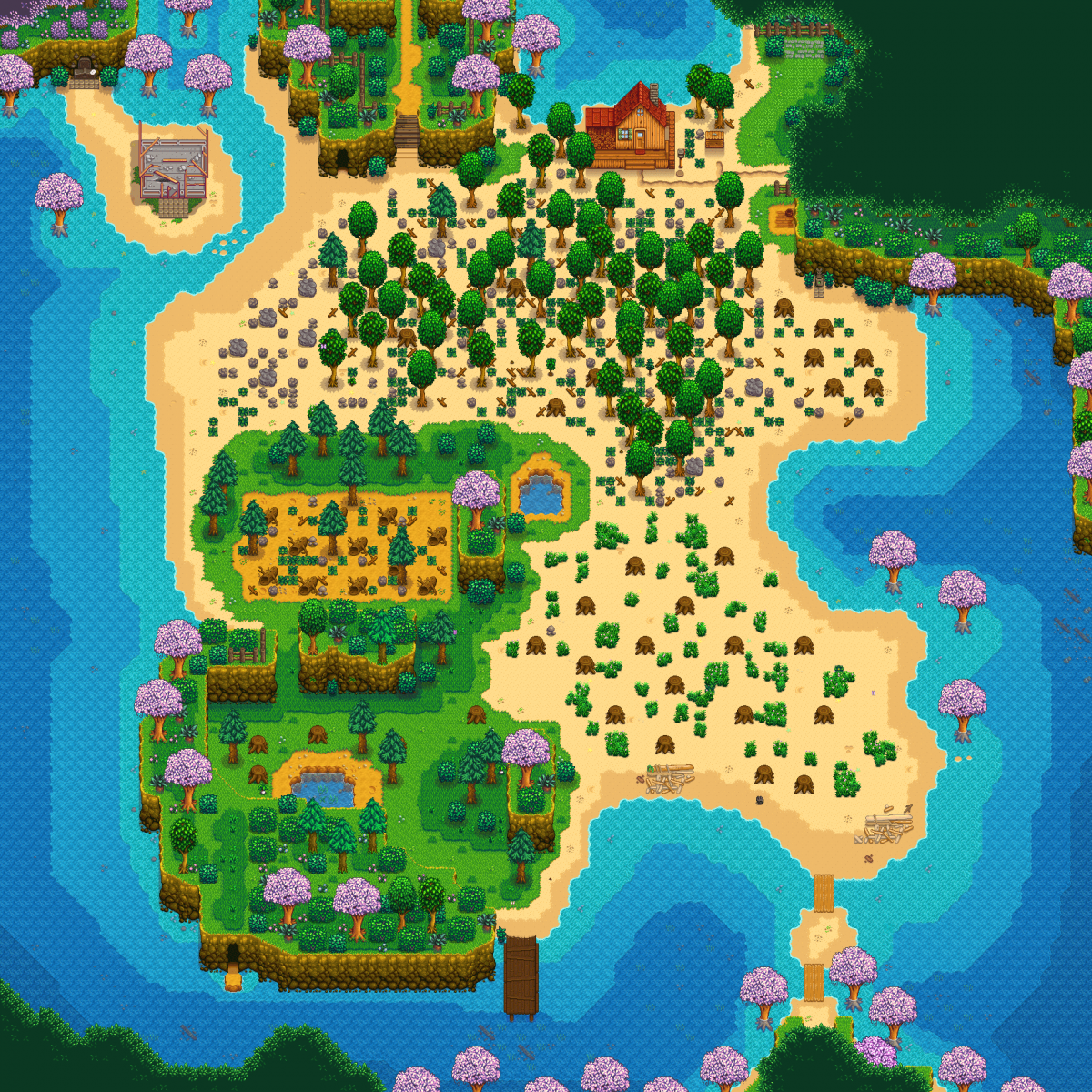 Beach farm land in Stardew Valley