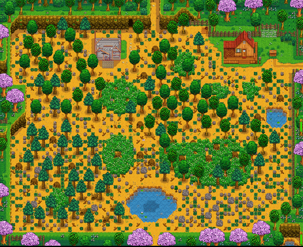 Standard farm land in Stardew Valley