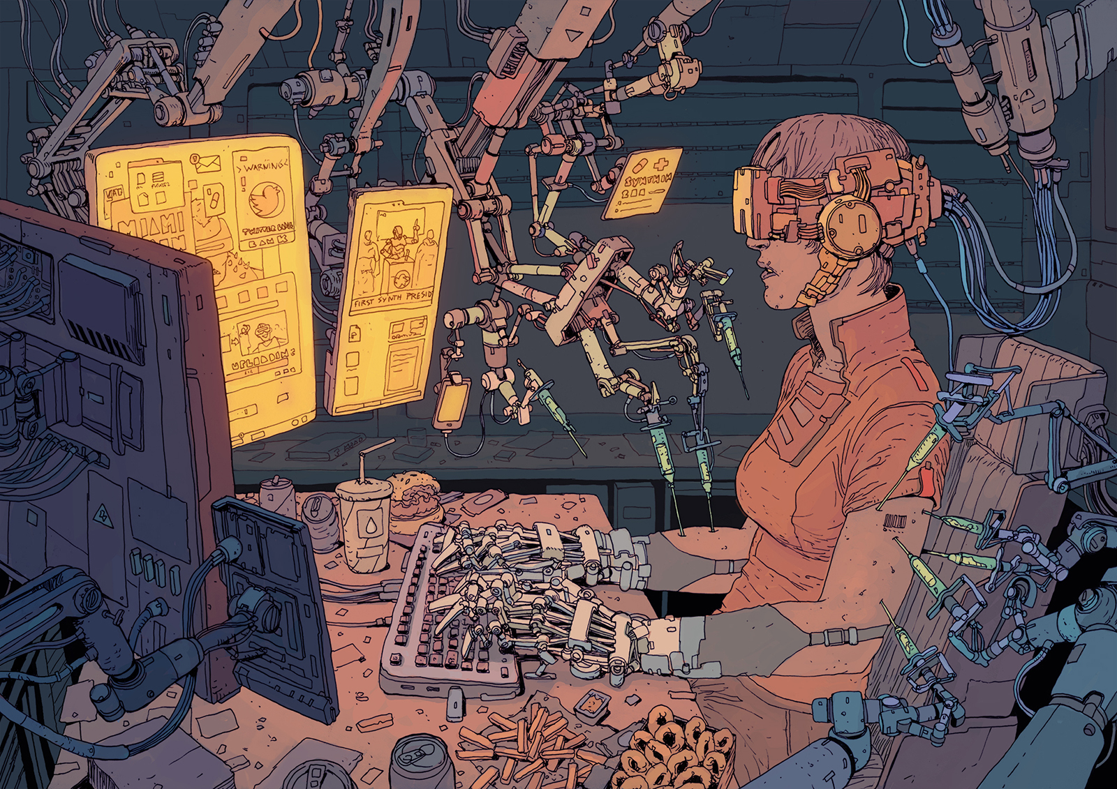 A drawing of a woman typing on a computer keyboard with cybernetic forearms and fingers. She wears a mechanical headset with wires connecting her to a machine. Various mechanical arms inject her with an unknown substance. Discarded or half-eaten junk food lays about the computer desk. A set of three monitors displays various unclear scenes.