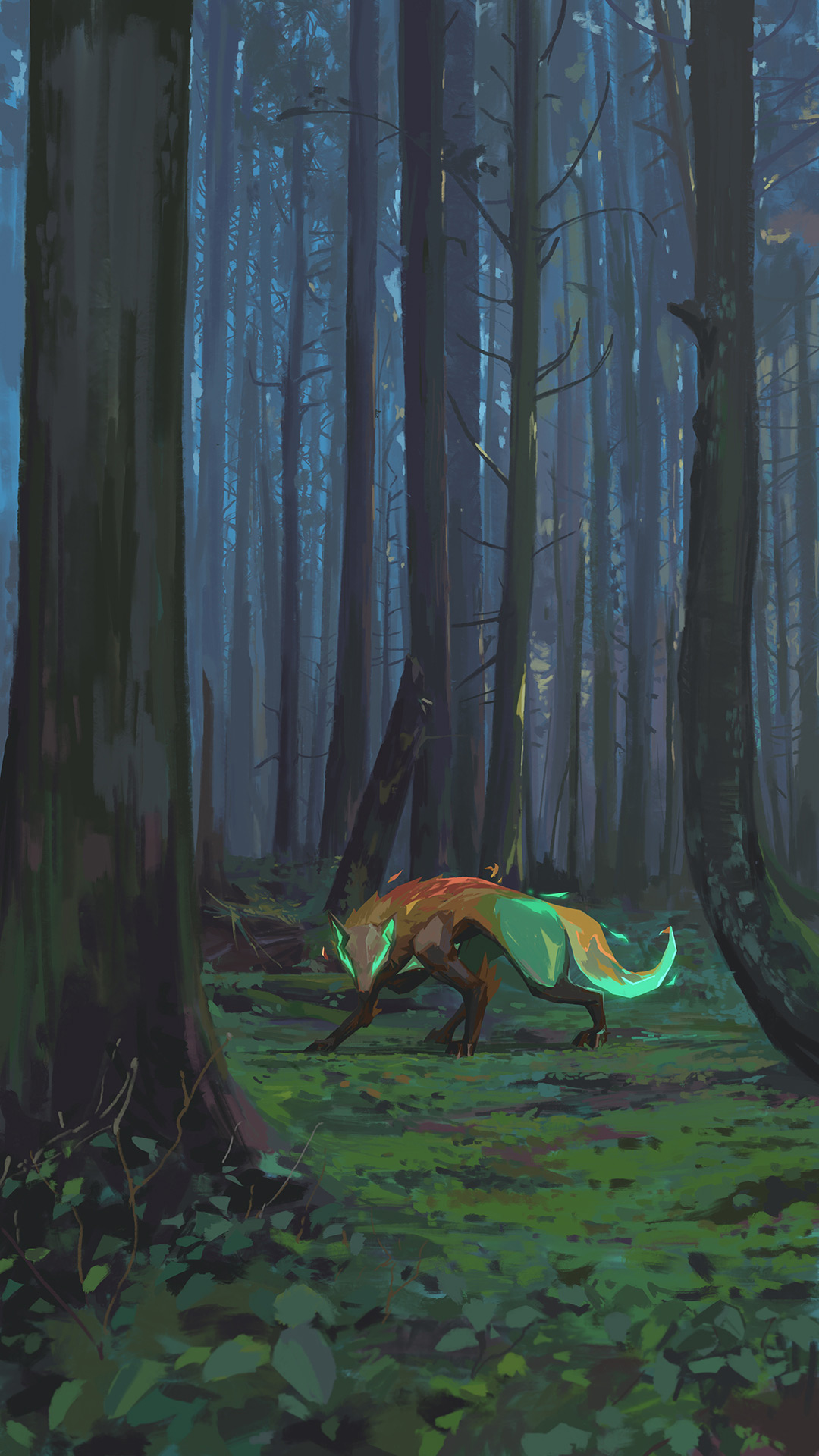 A glowing wolf standing in a forest