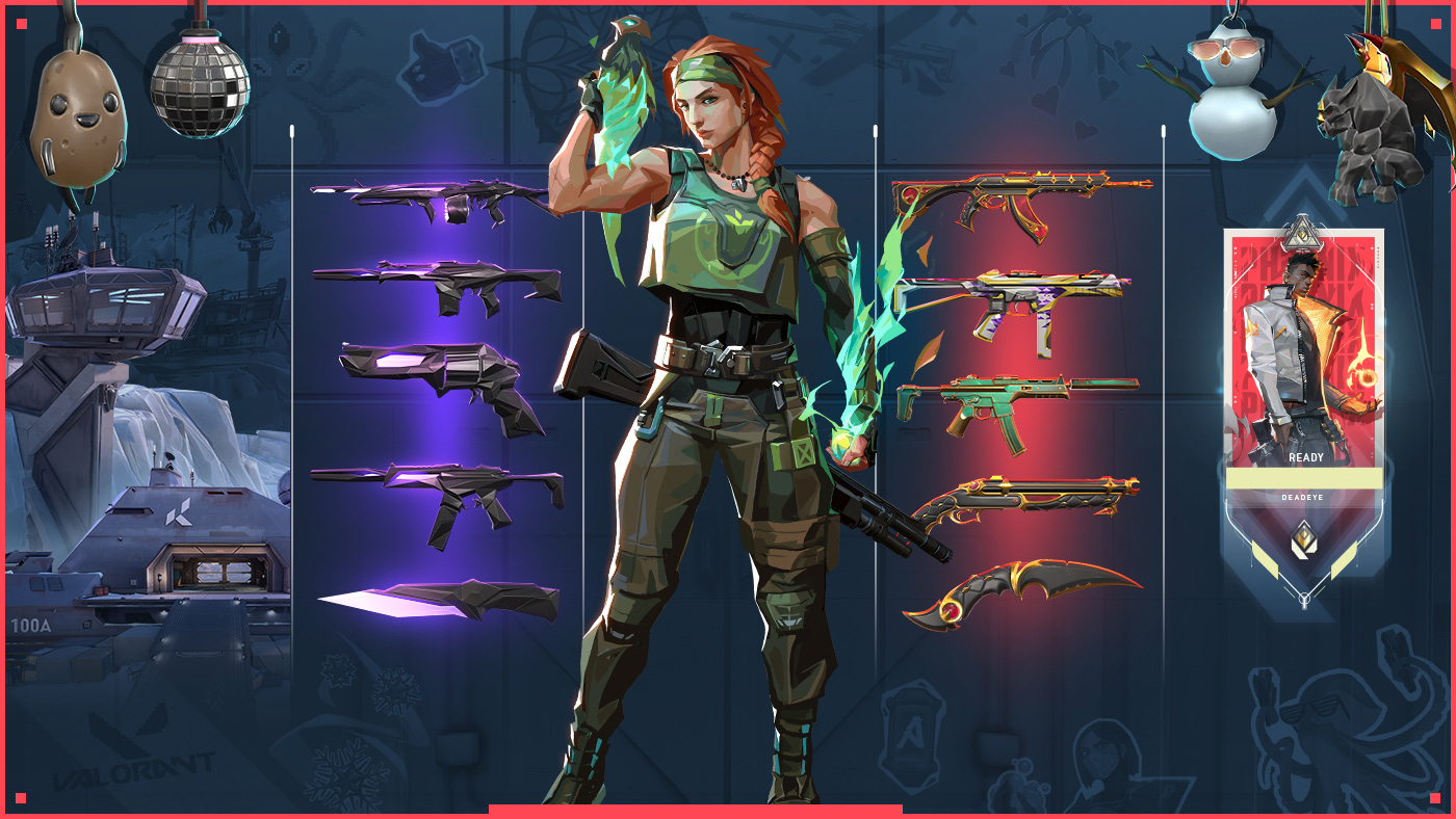 Valorant's new agent with a bird on her shoulder and gun, surrounded by 10 gun skins and 4 new gun buddy accessories