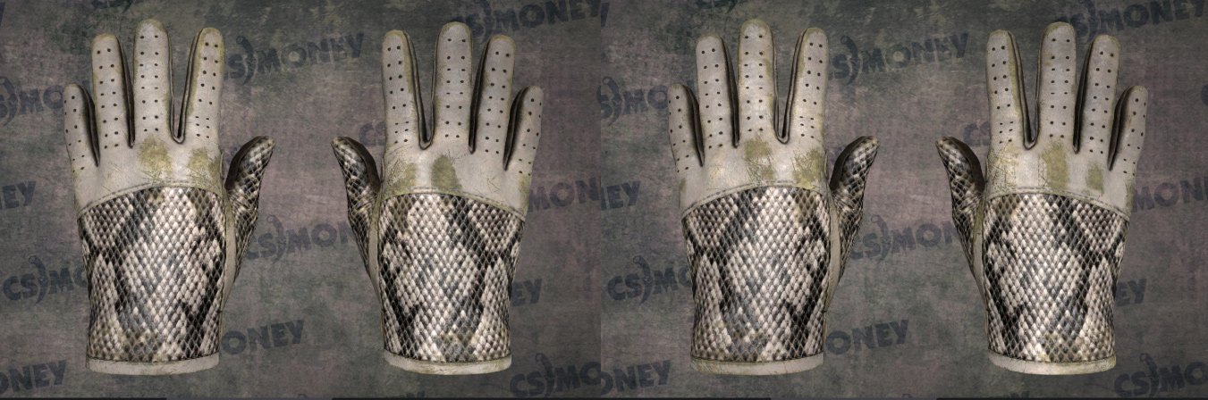 Two pairs of 3D rendered driving gloves side by side, each with a snake skin pattern and varied wear