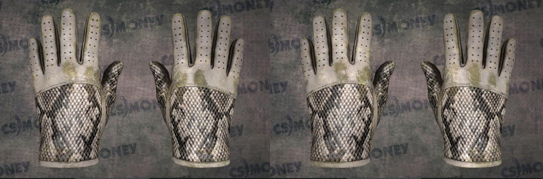 Dois pares de luvas de condução em 3D renderizadas lado a lado, cada uma com um padrão de pele de cobra e desgaste variado