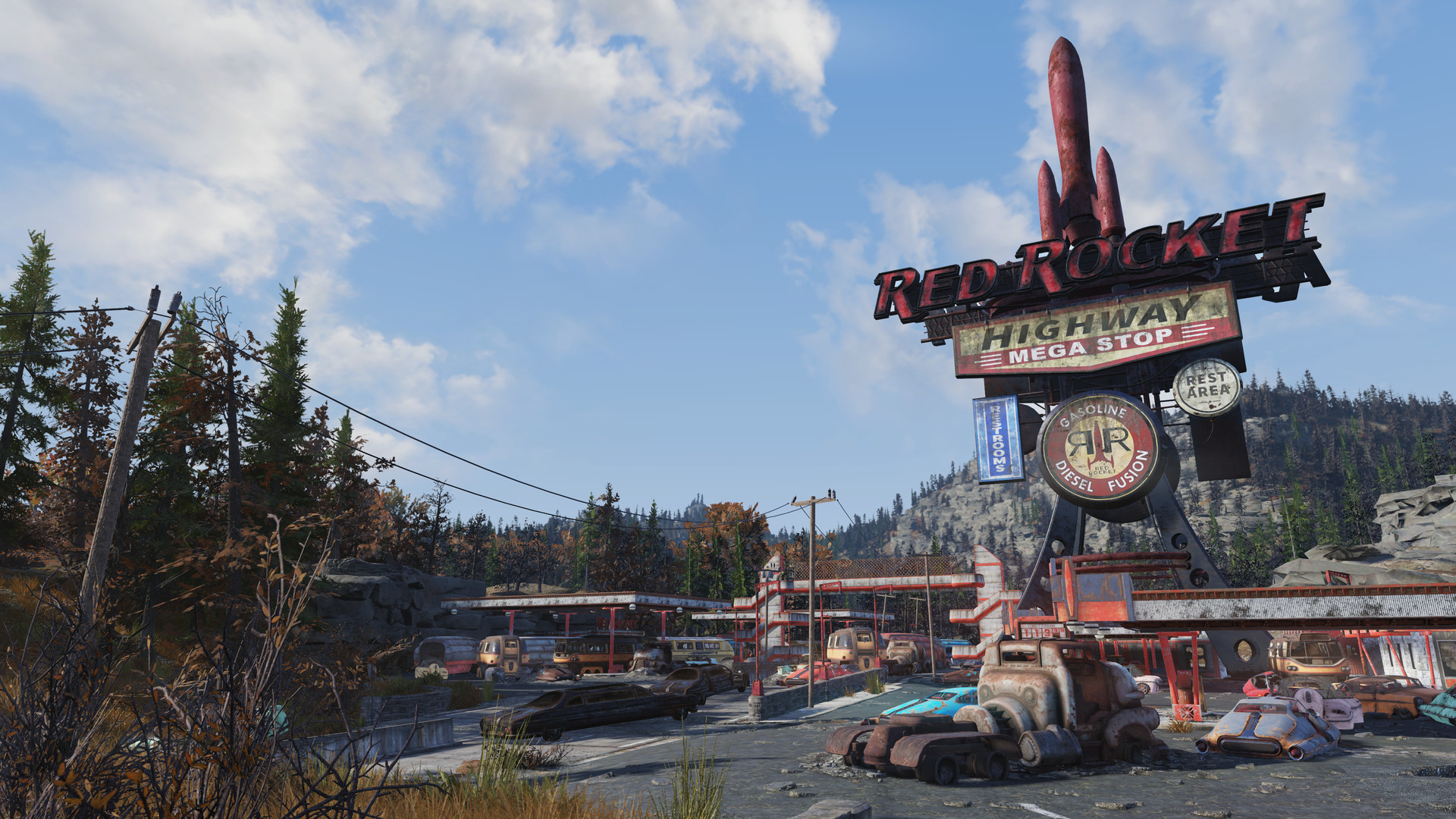 A scene from online multiplayer RPG Fallout 76.